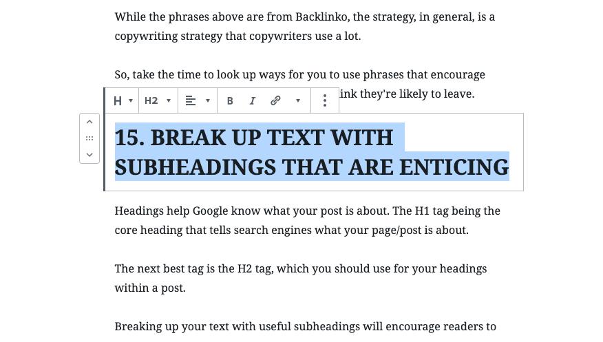 break up subheadings