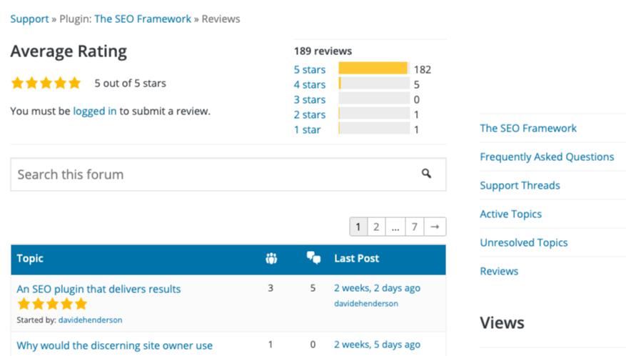 The SEO Framework Reviews